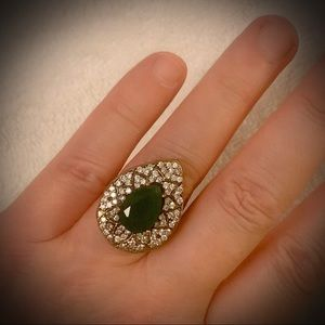 EMERALD ART RING Size 8.5 Solid 925 Silver/Gold